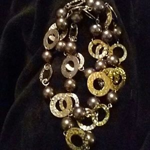 Black Pearl and silver necklace